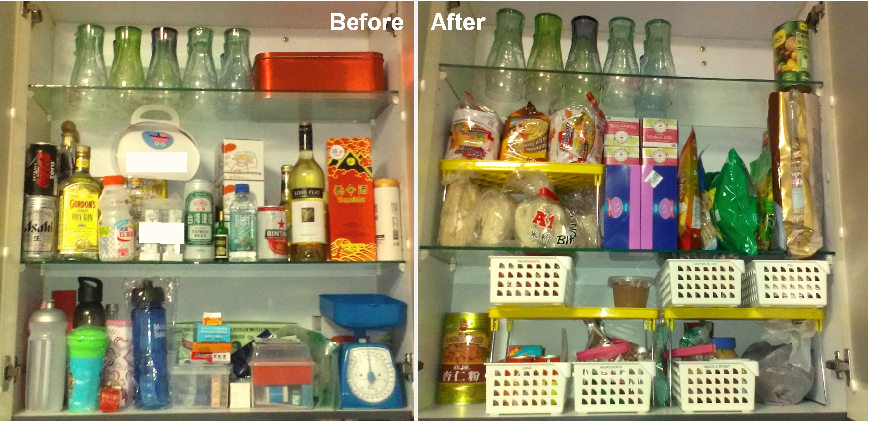 Use pantry baskets to organize the stray cans, jars, packets of food, sachets, etc.  Label the baskets and you will always know where everything you need is.
