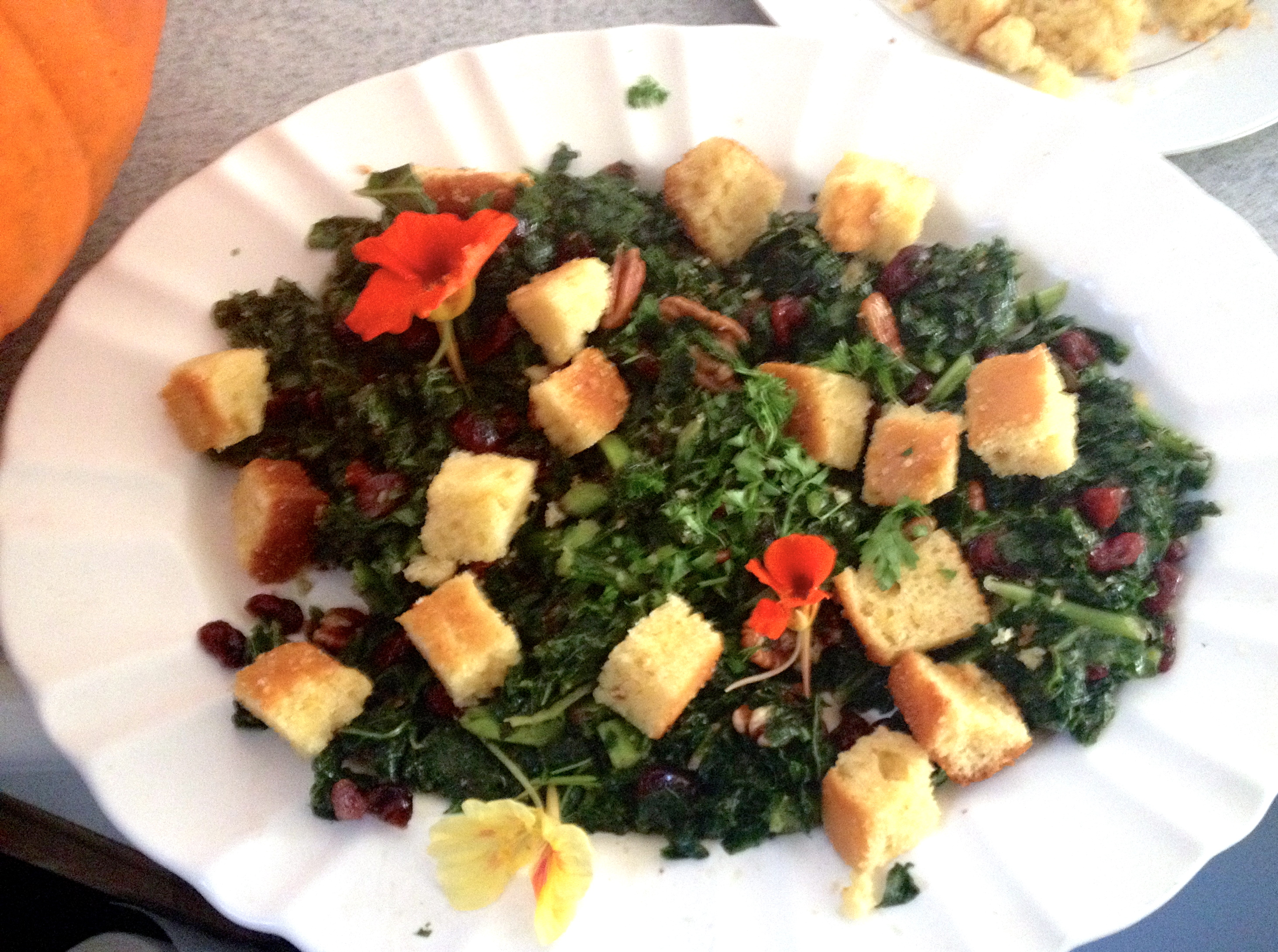 Kale Salad with Corn- Bread Croutons